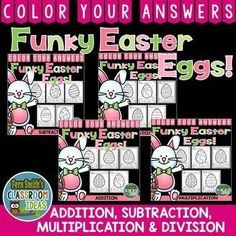 #Easter Addition, Subtraction, Multiplication and Division Bundle of Color Your Answers Printables for some Easter Math Fun in your classroom! Includes:  TWENTY No Prep Printables that can be used for your math center, small group, RTI pull out, seat work, substitute days or homework, answer keys included too! By Request for ELL and ESE teachers, terrific for teachers of multiple level classrooms. #TPT #FernSmithsClassroomIdeas $