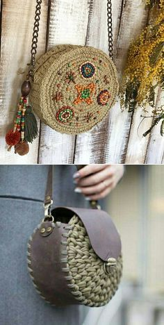 Pin by Sebile Akcay on Çanta // ljubov leto This is an interesting technique that could be used with vinyl really easily but could help disguise it's ugly vinyl edges Round juta cord bag crochet tasseled handbag summer tote circular purse circle bags cus Crochet Handbags, Crochet Purses, Crochet Wallet, Crochet Stitches, Crochet Patterns, Macrame Bag, Boho Bags, Basket Bag, Bead Crochet