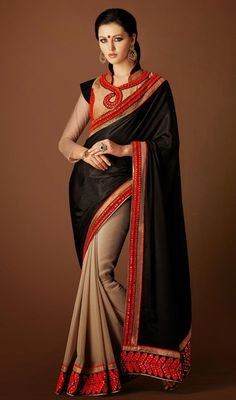 Bring an alluring glow dressed in this beige and black satin silk half n half sari. The interesting lace, resham and stones work a intensive element of this saree. #StunningEveningSareeCollection