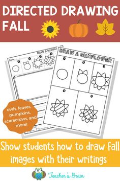 Looking for fun Fall themed activities for the kids in your classroom? I have you covered! Show students HOW TO DRAW FALL images with their writing using these directed drawings for primary and intermediate grades in 5 simple steps. Pick and choose what works for you to create a journal or a gift for others. #drawing #classroomactivities #directeddrawing