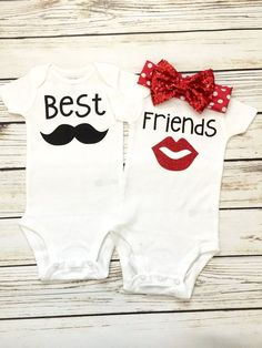 Best Friends Boy Girl Twin Matching Bodysuit Outfits   Matching Twin Onesies