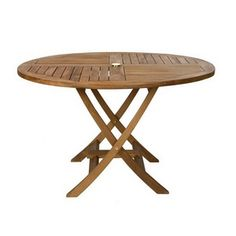 All Things Cedar 48-in Light Teak Oil Stain Teak Round Patio Dining Table Tr48
