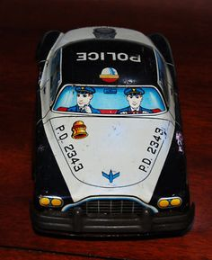 Antique Vintage 1950's Toy Police Car 50's