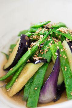 Japanese Green Bean and Eggplant Agebitashi