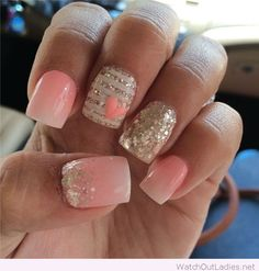 Light pink, white and silver glitter nails