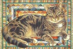 """I ❤ kitties  . . . """"Octopussy on Triangle Rug""""- Lesley Anne Ivory- I ❤ her cats . . ."""
