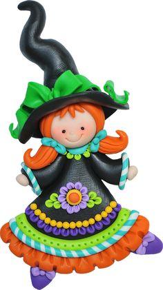 Petite sorcière colorée, en pâte Fimo (porcelaine froide)