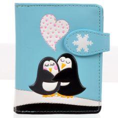 Shagwear-Women-039-s-Small-Zipper-Wallet-Love-Penguins-Sky-Blue