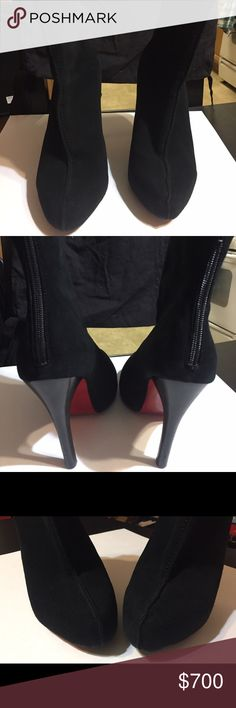 Christian Louboutin Suede Black Booties Beautiful boots, well kept in good condition.  Hidden covered platform. Back zipper with front raised seam.  Front tip of the right shoe has slightly rough Suede from wear, but is barely noticeable. No discoloration at all.  Soles are scuffed as shown in the photos from wearing them. Does not come with box or shoe bag Christian Louboutin Shoes Ankle Boots & Booties