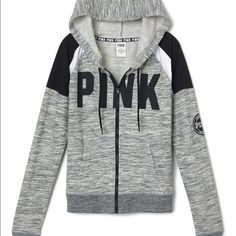 Large PINK Perfect Full Zip Perfection in a hoodie: super comfy, waist length and a cute slim fit. Must-have sweats by Victoria's Secret PINK.  Slim fit Print graphics Cozy supersoft fleece Front pockets Imported cotton/polyester PINK Victoria's Secret Sweaters