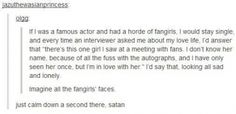 """The most genius/evil and funniest thing. Imagine if Benedict or Tom blurted this out...the world would explode with the force that is the """"fangirl"""""""