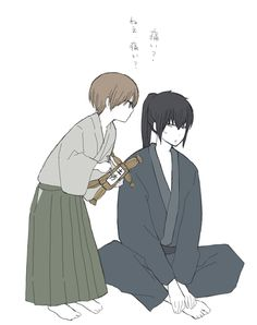 Okita and Hijikata Fanart, Okikagu, Anime People, Manga, Samurai, Couple, Husband, Japanese, Drawings