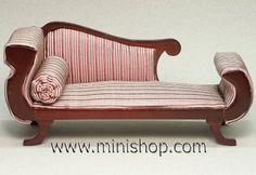 dollhouse furniture | Biedermeier Chaise Lounge Dollhouse Miniature Furniture, Mahogany