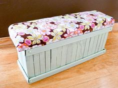 So says Sarah...  Fabric covered child bench from an old wooden planter