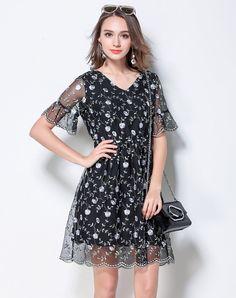 #AdoreWe #VIPme A-Line Dresses❤️Designer Meidongtai Black Printed Floral V Neck Bell Sleeve A Line Dress - AdoreWe.com