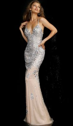 d4d2e4e08b58 Jovani - 59852 Crystal Beaded Soft Tulle Sheath Gown. CoutureCandy.com