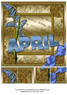 April Bluebells Gold Birthday 8inch Picture Sheet - CUP169358_10 | Craftsuprint