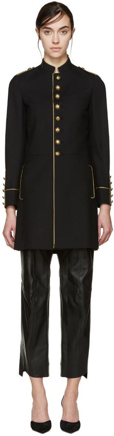 Image of Saint Laurent Black Wool Military Coat