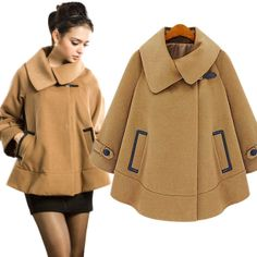 Large Size Winter Parka Women Brand Women's Jackets and Coats XXL Blends Cashmere Sophisticated Jacket Wool Cloak Coat Overcoat $88.00