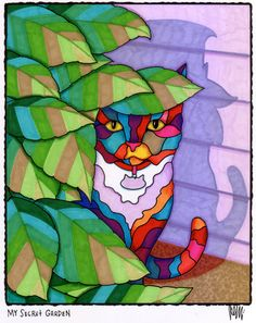 My Secret Garden by AEMgallery on Etsy, $29.00   This is MY Cassie-Cat! I bought the original..