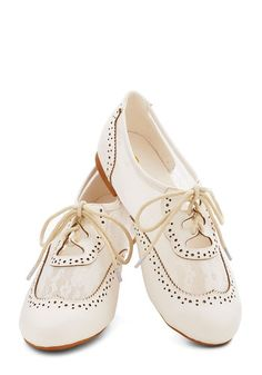Marina Ballerina Flat in White - Flat, Sheer, Faux Leather, Cream, Solid, Cutout, Lace, Vintage Inspired, 20s, 30s, Good, Lace Up, Variation...