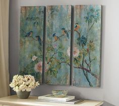 Bird  Branch Triptych Panels #potterybarn
