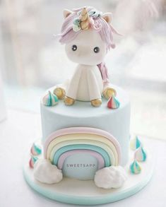 Que fofura!!!!  Bolo by @sweetsapp_bakingdream Vi no IG @party_angel7 #bolosdecorados #unicorncake #unicornio #sugarart