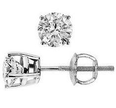 0.46 Cttw F VS SI Round Cut Diamond Stud Earrings 14K White Gold Screw Back #Stud #Earrings #Diamond #14K #WhiteGold #GDD