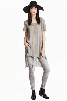 T-shirt long en lin mélangé   H&M