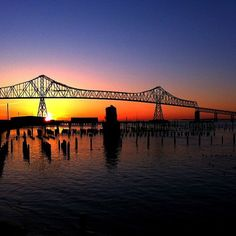 Sunset over the Columbia River in Astoria.