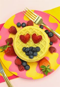 Fun Emoji Themed Berry Covered Waffle For Brunch! ⋆ Brite and Bubbly