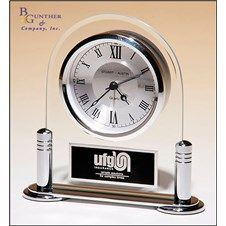 Desk Clock :: Glass desk clock with silver metal base and three hand clock movement. Runs on one AA sized battery. #clock #timepiece #gift #personalized #retirement #recognition #business