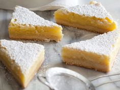 Lemon Bars Recipe : Ina Garten : Food Network - Made these this afternoon, used a little orange zest as well. Lemon Desserts, Lemon Recipes, Köstliche Desserts, Delicious Desserts, Dessert Recipes, Bar Recipes, Lemon Cakes, Easter Desserts, Oven Recipes