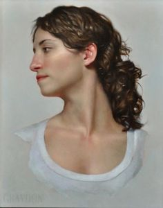 Graydon Parrish, American Figurative Artist, Young Woman Looking to Her Right (Susanna (muse)), 2010 Heat bodied oil, fumed silica and amber on hardboard.
