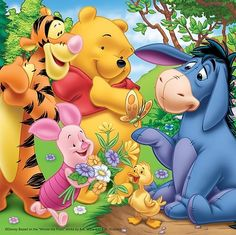 "Tigger, Pooh, Piglet, and a Little Ducky Giving Eeyore Some Fresh Picked Flowers. ""Winnie the Pooh and Friends"""