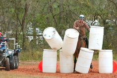"horse obstacles for training | ... the barrels on Orlando PD Horse ""Kilowatt"" during the obstacle course"