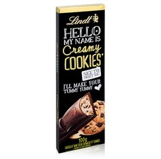 Tablette Lindt Hello Noir Cookies & Cream - Chocolats Lindt - Boutique France Chocolat Lindt, Chibi Food, Tummy Yummy, Hello My Name Is, Food Drawing, Dessert Drinks, Peanut Butter Cups, Cookies, Candy Recipes