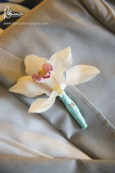 We spy a hidden Mickey on this tropical orchid boutonniere