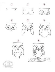 easy step-by-step on how to draw an owl by Melissa Beach