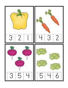 Vegetable counting cards Vegetable Crafts, Preschool Learning, Preschool Themes, Preschool Food, Numbers Preschool, Preschool Garden, Teaching Activities, Preschool Kindergarten, Classroom Activities
