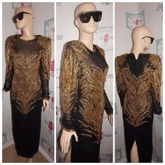 """Up for sale is this lovely Vintage Pinky Creations Black/Gold Heavy Sequins Shingle Sleeve  Dress Size M  Flaws: none noticeable  Material:  silk  Shoulder Pads: no Pit to Pit: """" 18 Sleeve: """" 19 Overall Length: """" 60  PLEASE READ Below Tag size on vintage clothing doesnt match current clothing sizes. Please compare the actual garment measurements below to your own clothing (not your body) to determine fit. Measurements have been taken with the garment lying flat. They have not been doubled…"""
