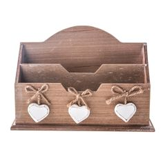Gisela Graham Wooden Letter Rack with White Wash Hanging Hearts