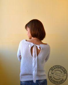 Мой маленький вязаный мир: Белый пуловер из Phildar узором Godron