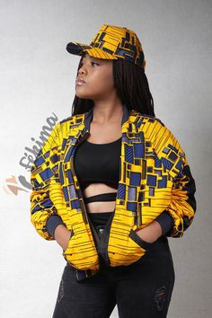 Mixed bomber jacket, in high quality wax, with cotton lining. Long African Dresses, Latest African Fashion Dresses, Kente Dress, Ankara Short Gown Styles, African Tops, Ankara Jackets, Curvy Girl Outfits, African Print Clothing, Fashion Mode