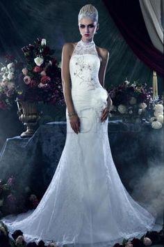 Gorgeous Sheath/Column High-Neck Chapel Train Lace Dasha's Wedding Dress