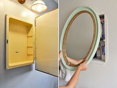 diy medicine cabinet redo with rope lined mirror