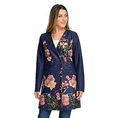 ShopHQ Online Home Shopping - SolitairePrinted Faux SuedeSurplice NeckButton Jacket on sale. Solitare brings you this gem of a jacket, designed to enhance your natural beauty! Gorgeous floral details and a luxe faux suede feel will certainl Pull On Jeans, Color Shades, Fashion Days, Curly Hair, Natural Beauty, Gem, Tunic Tops, Classy, Pocket