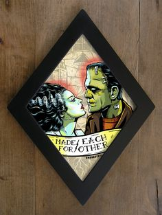Custom Diamond Framed Print by bwanadevilart on Etsy Halloween Crafts, Halloween Decorations, Halloween Pics, Arte Zombie, Goth Home Decor, Horror Decor, Bride Of Frankenstein, Classic Monsters, Gothic House