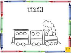 Dibujo para colorear con los niños de un tren
