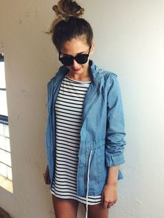 A denim jacket over a casual dress is a classic and so easy to out together. Hair up and you are out the door in 10 minutes. | 5 Useful Tips to Being A Stylish Hot Mama This Summer